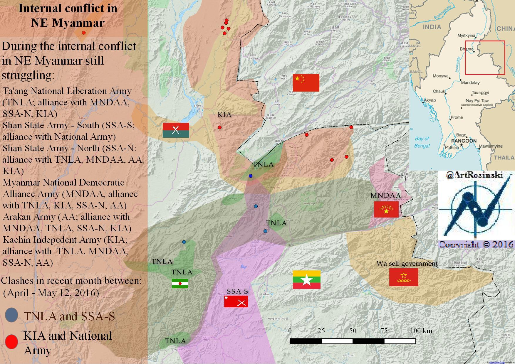 Karte Myanmar.Karte Konflikt Im Nordosten Von Myanmar April Mai 2016