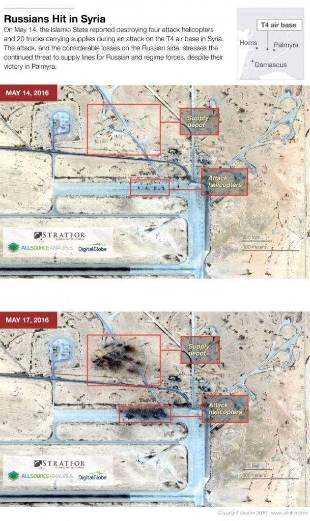 Satellitenbilder sollen Zerstörung von 4 russischen MI-24 Kampfhubschraubern in Syrien belegen (2)