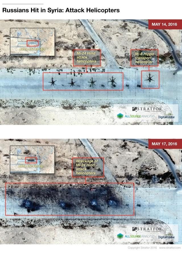 Satellitenbilder sollen Zerstörung von 4 russischen MI-24 Kampfhubschraubern in Syrien belegen