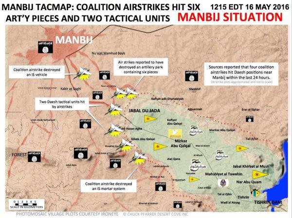 Syrien Militärische Situation im Gebiet von Manbij am 16. Mai