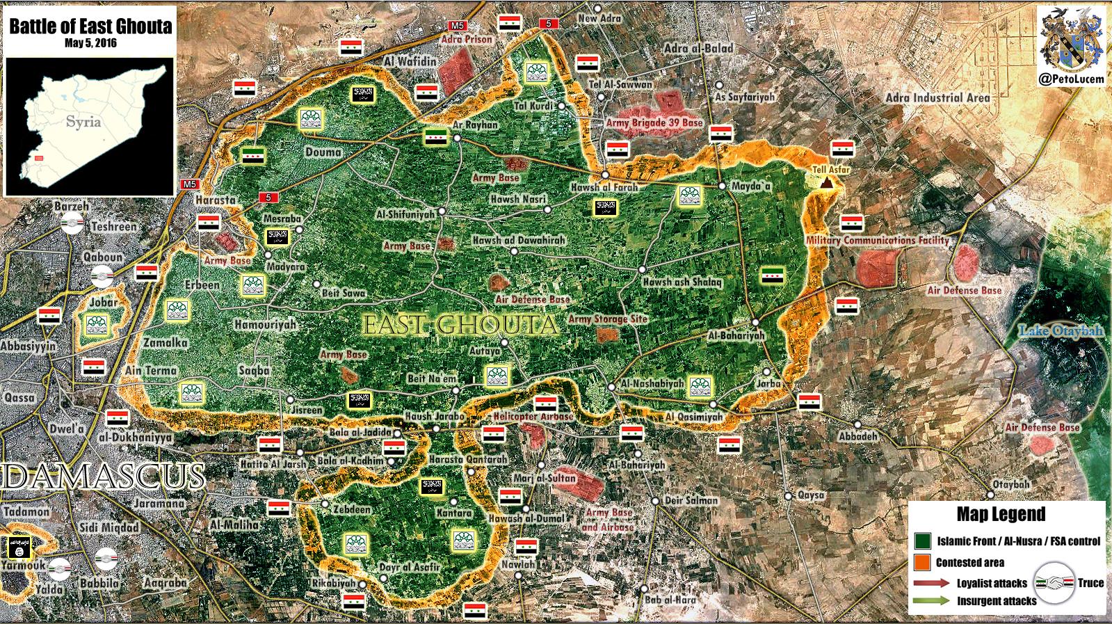 Syrien Karte 2016.Syrien Militarische Situation In Ost Ghouta Damaskus