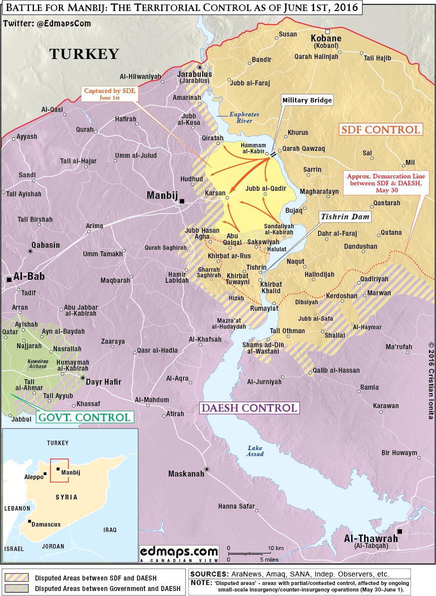 Syrien Karte 2016.Detaillierte Karte Kampf Um Manbij Syrien Am 1 Juni