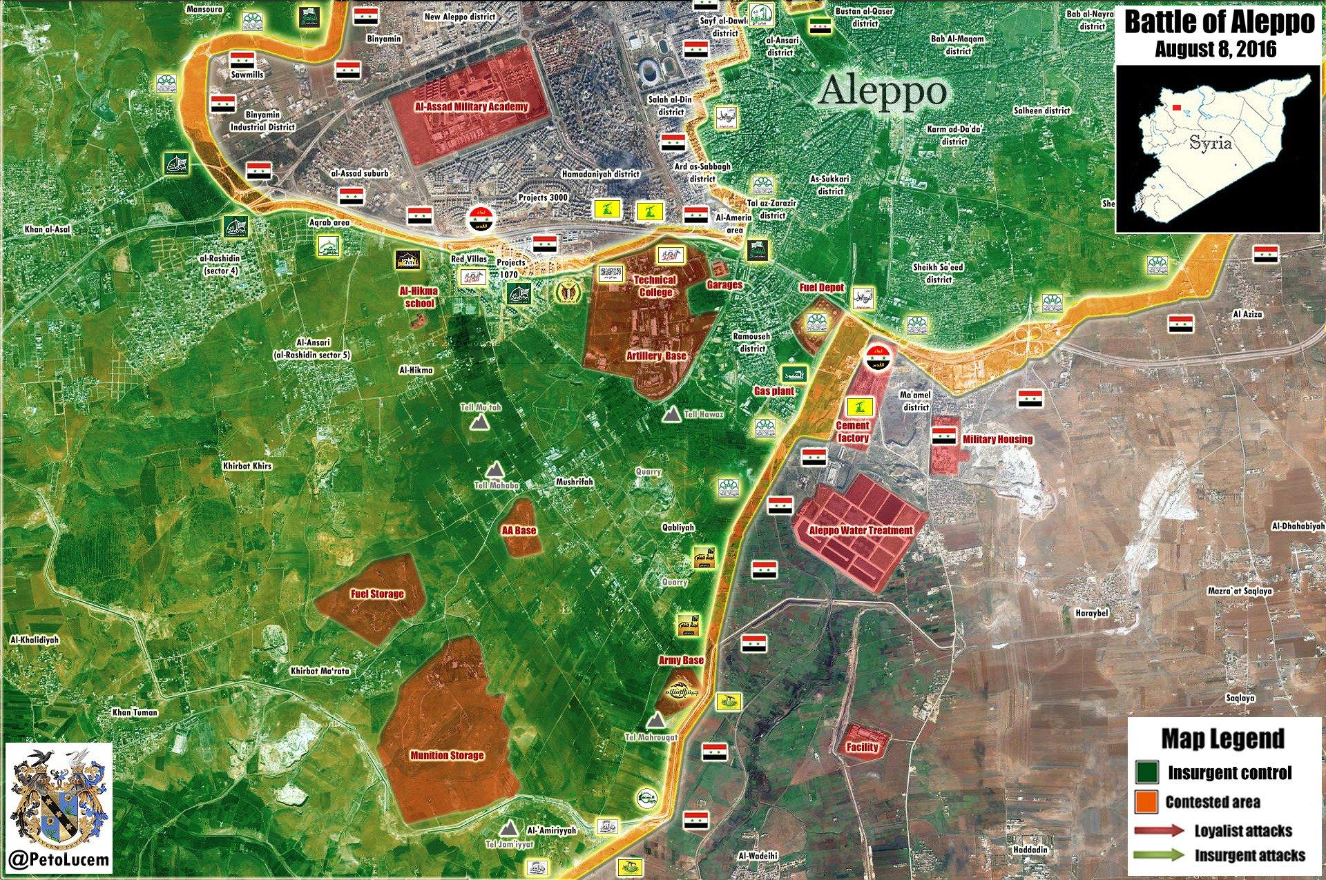 Syrien Karte 2016.Syrien Militärische Situation Im Südwesten Von Aleppo 08 August 2016