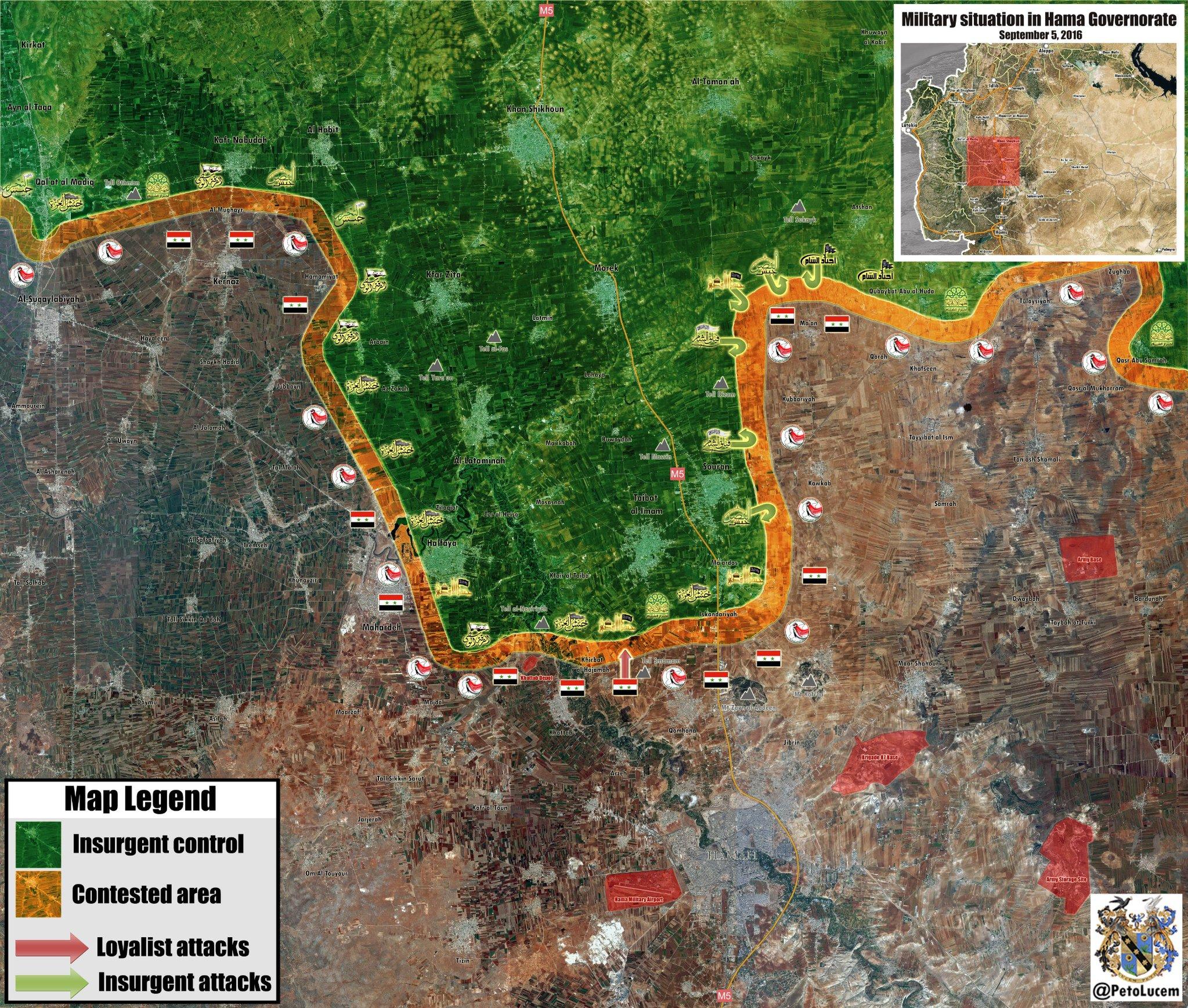 Syrien Karte 2016.Syrien Militärische Lage Im Gouvernement Hama Am 05 September 2016