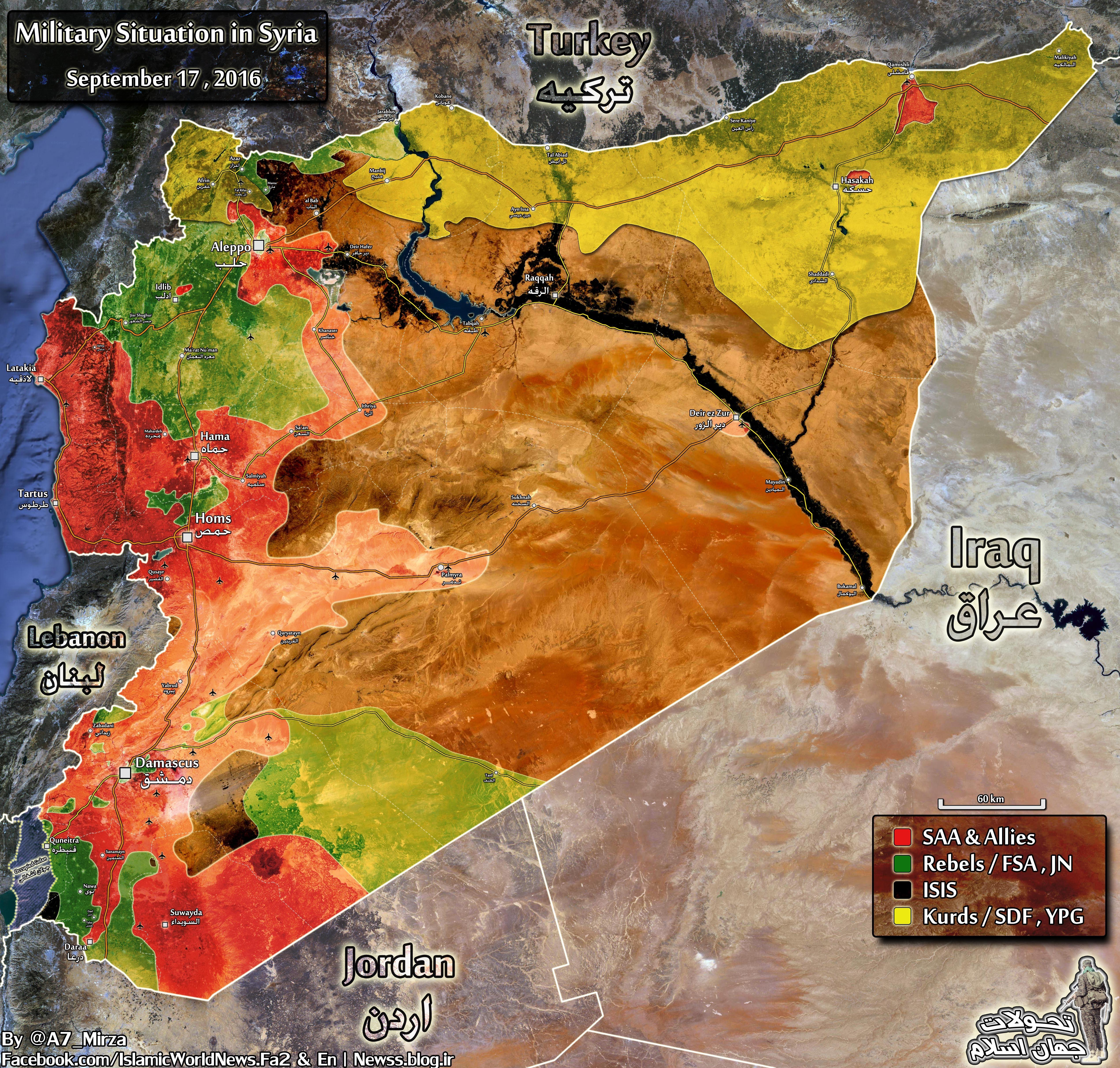 Syrien Karte 2016.Karte Militarische Lage In Syrien 17 September 2016