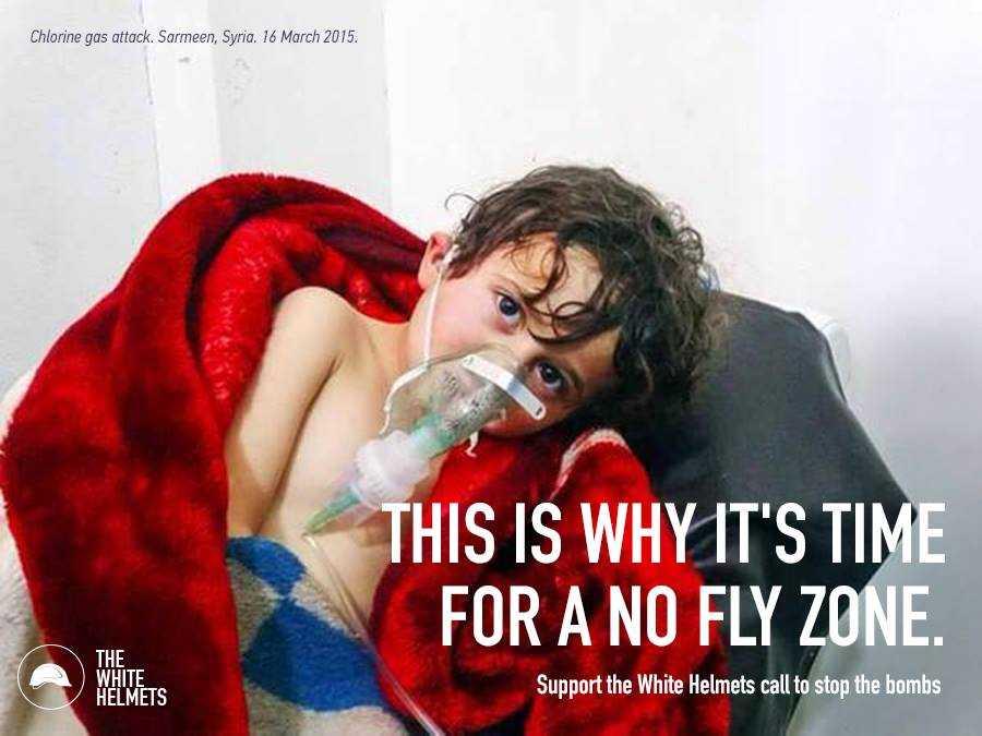 """Ein herzzerreißendes Propagandabild (der """"White Helmets"""") mit dem eine Flugverbotszone – eine US-Militäroperation in Syrien gegen die syrische Armee – gerechtfertigt werden soll"""