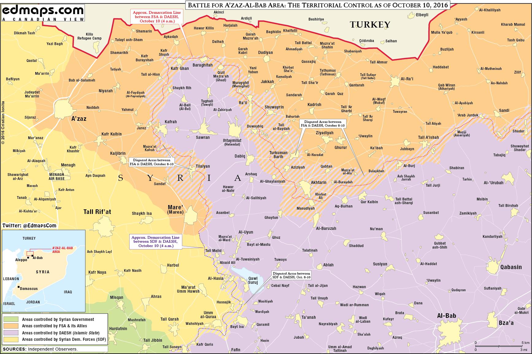 Syrien Karte 2016.Syrien Militärische Lage Im Großraum Azaz Am 10 Oktober 2016