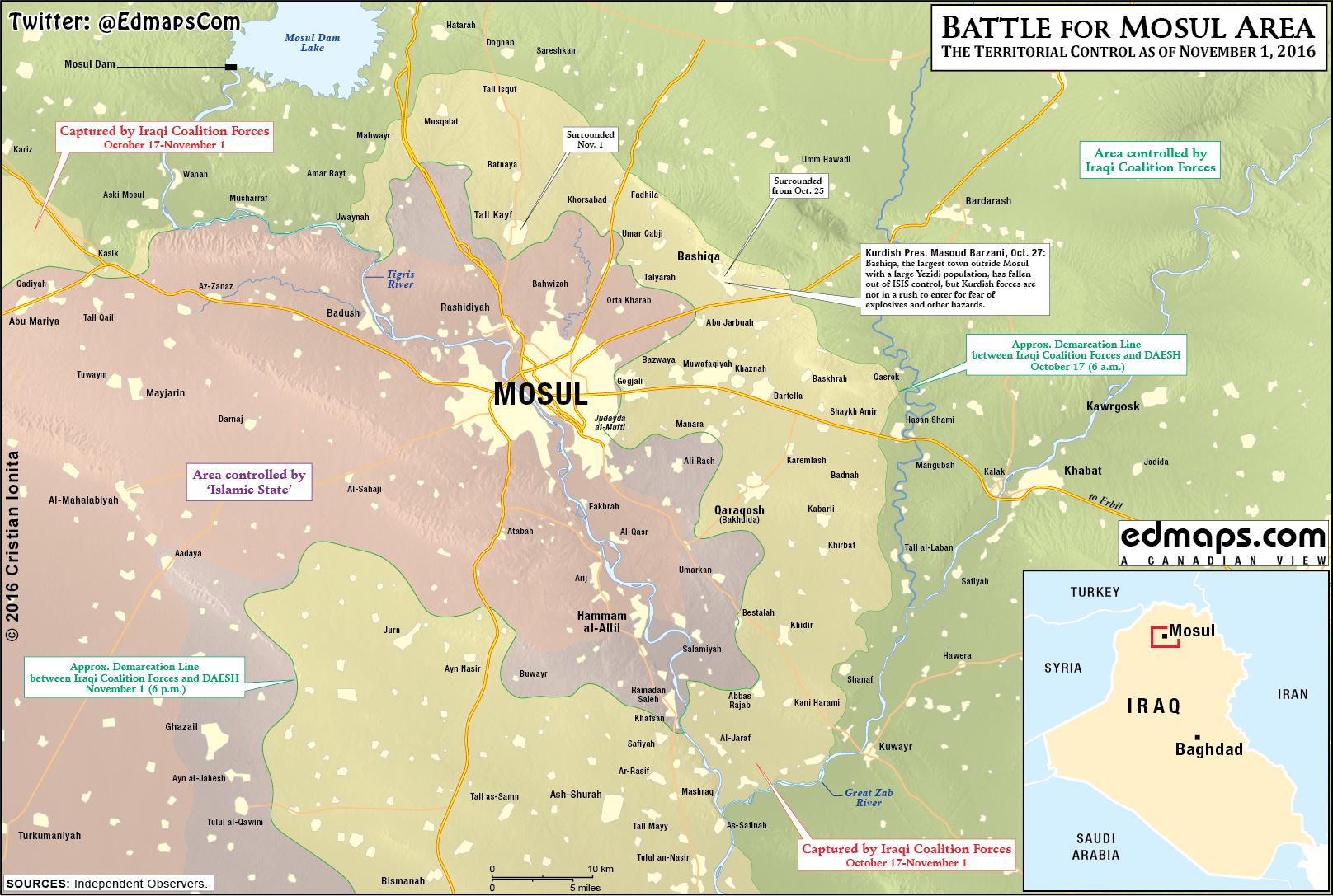 mossul karte Kartenupdate Irak: Anti ISIS Kräfte rüsten sich für Sturm auf Mossul