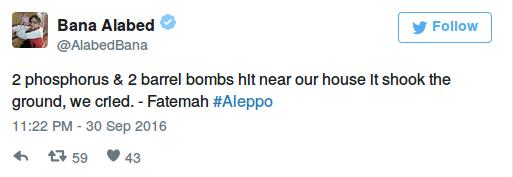 """""""2 Phosphor & 2 Fassbomben schlugen in der Nähe unseres Hauses ein der Boden hat gewackelt, wir haben geweint. – Fatemah #Aleppo"""""""