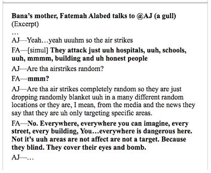 """""""Banas Mutter, Fatameh Alabed, spricht mit @AJ (a gull) (Ausschnitt)"""