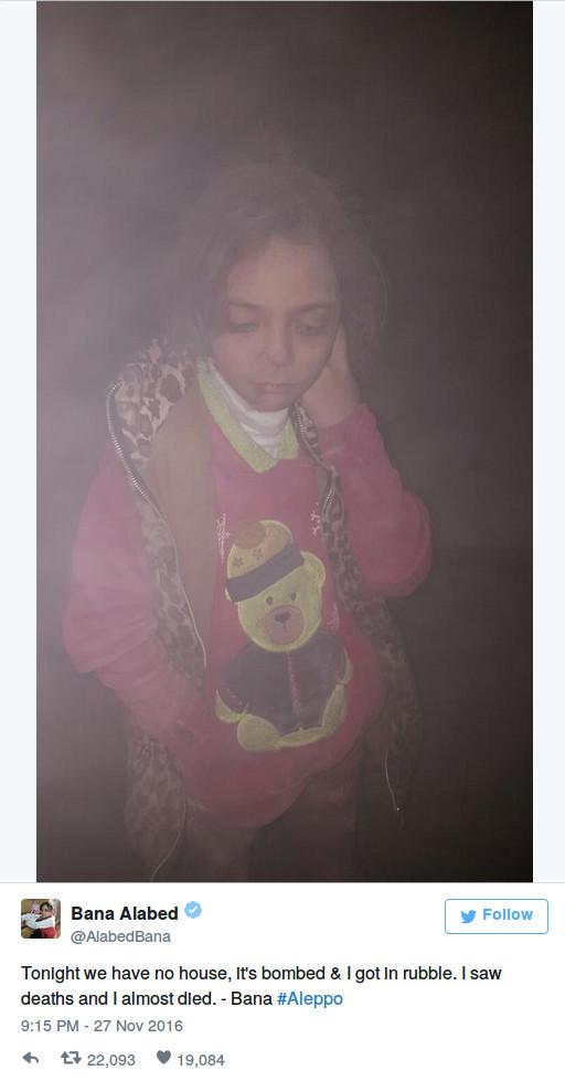 """""""Heute Nacht haben wir kein Haus, es ist bombardiert und ich lag im Schutt. Ich sah Tote und ich bin fast gestorben. – Bana #Aleppo"""""""