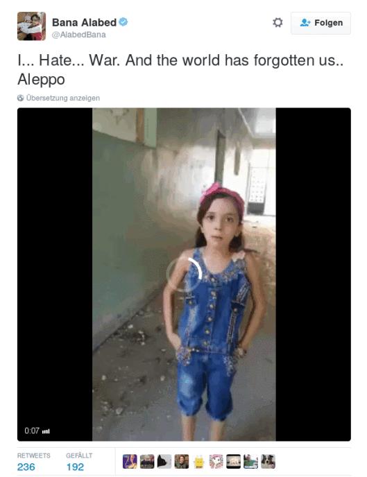 """""""Ich… hasse Krieg… Und die Welt hat uns vergessen.. Aleppo"""" (Video)"""