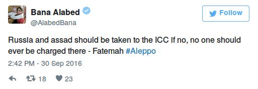 """""""Russland und Assad sollte man vor den ICC zerren, und wenn nicht, dann sollte gar niemand dort angeklagt werden – Fatemah#Aleppo"""""""