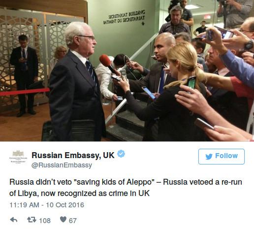"""""""Russland hat kein Veto gegen """"die Rettung von Kindern in Aleppo"""" eingelegt – Russland hat gegen eine Neuauflage von Libyen, was jetzt von Großbritannien als ein Verbrechen anerkannt wurde, ein Veto eingelegt."""""""
