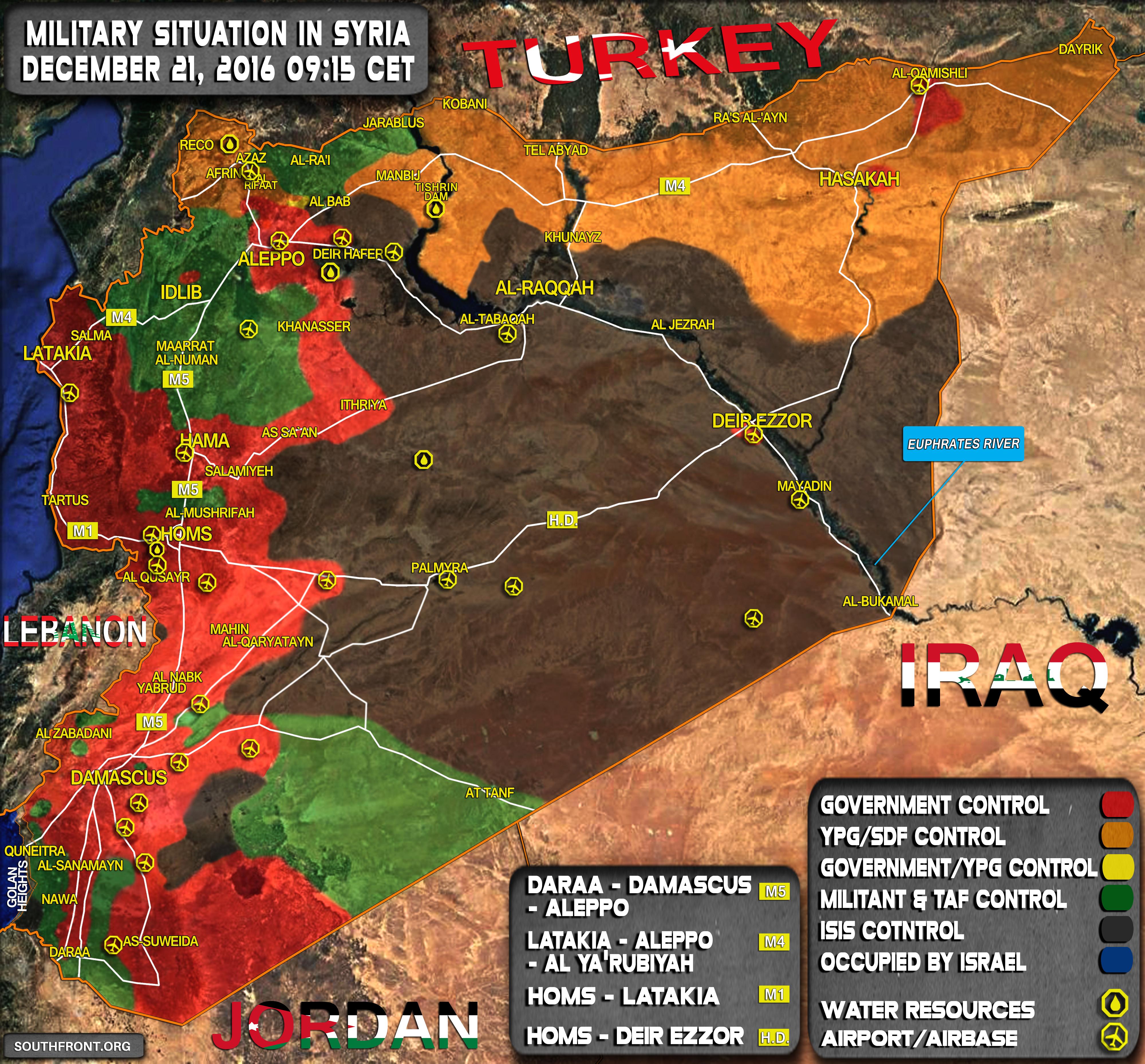 Syrien Karte 2016.Kartenupdate Militarische Lage In Syrien 21 Dezember 2016