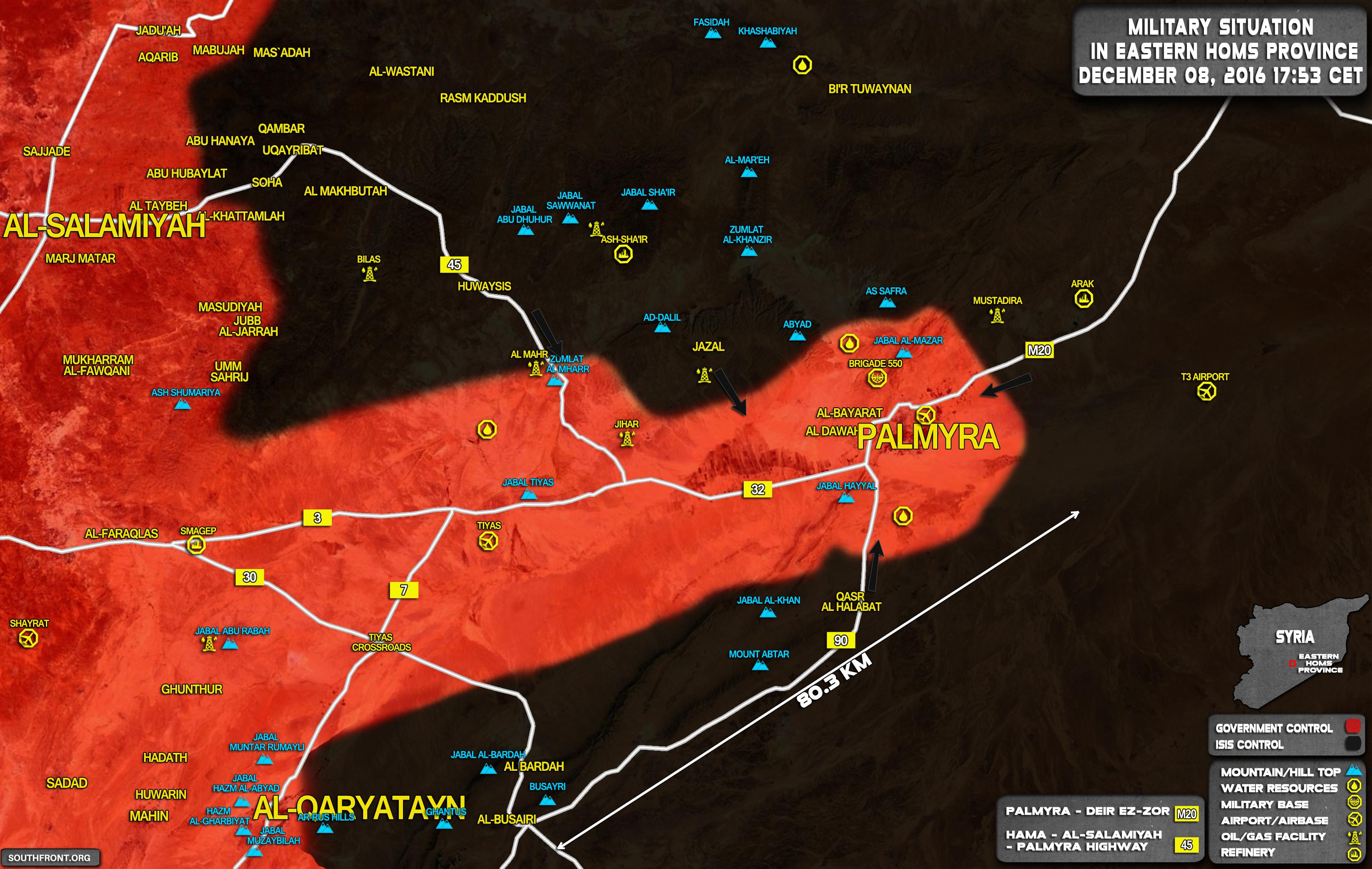Syrien Karte 2016.Kartenupdate Syrien Militarische Lage Nahe Palmyra Am 08