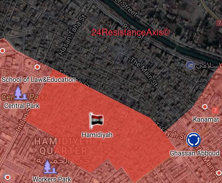 Karte der Lage in Deir ez-Zor (Hamidiyah)