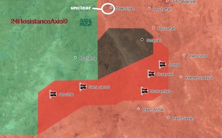 Karte der eroberten Ortschaften im Nordosten des Gouvernements Hama