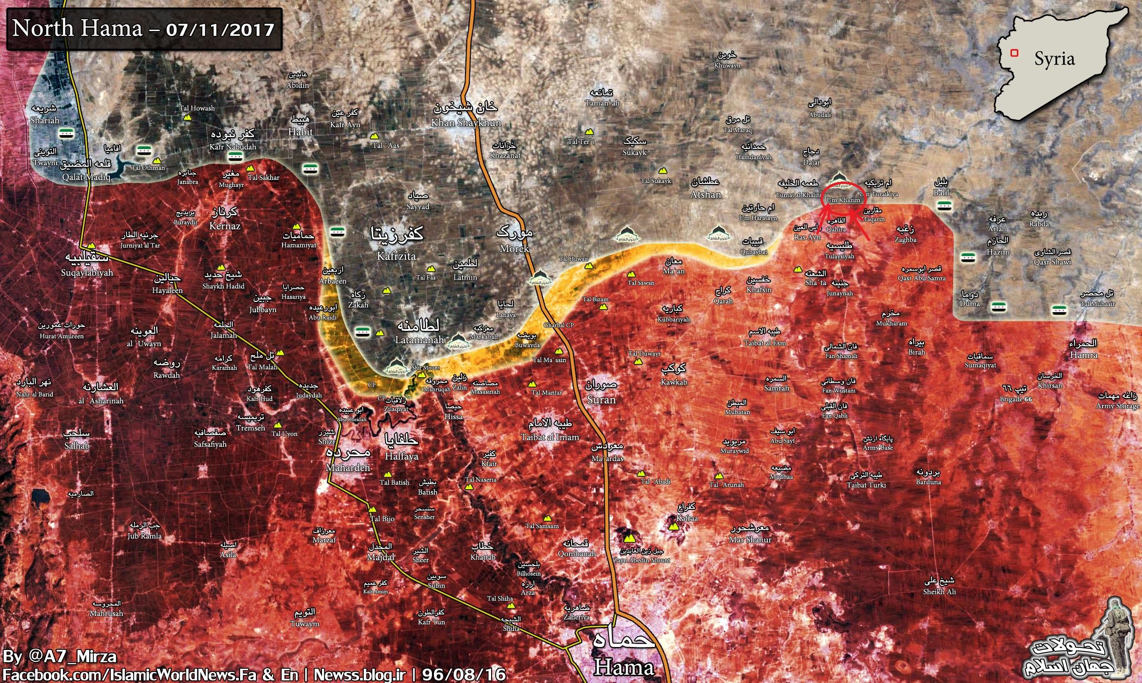 Lage im Norden des Gouvernements Hama