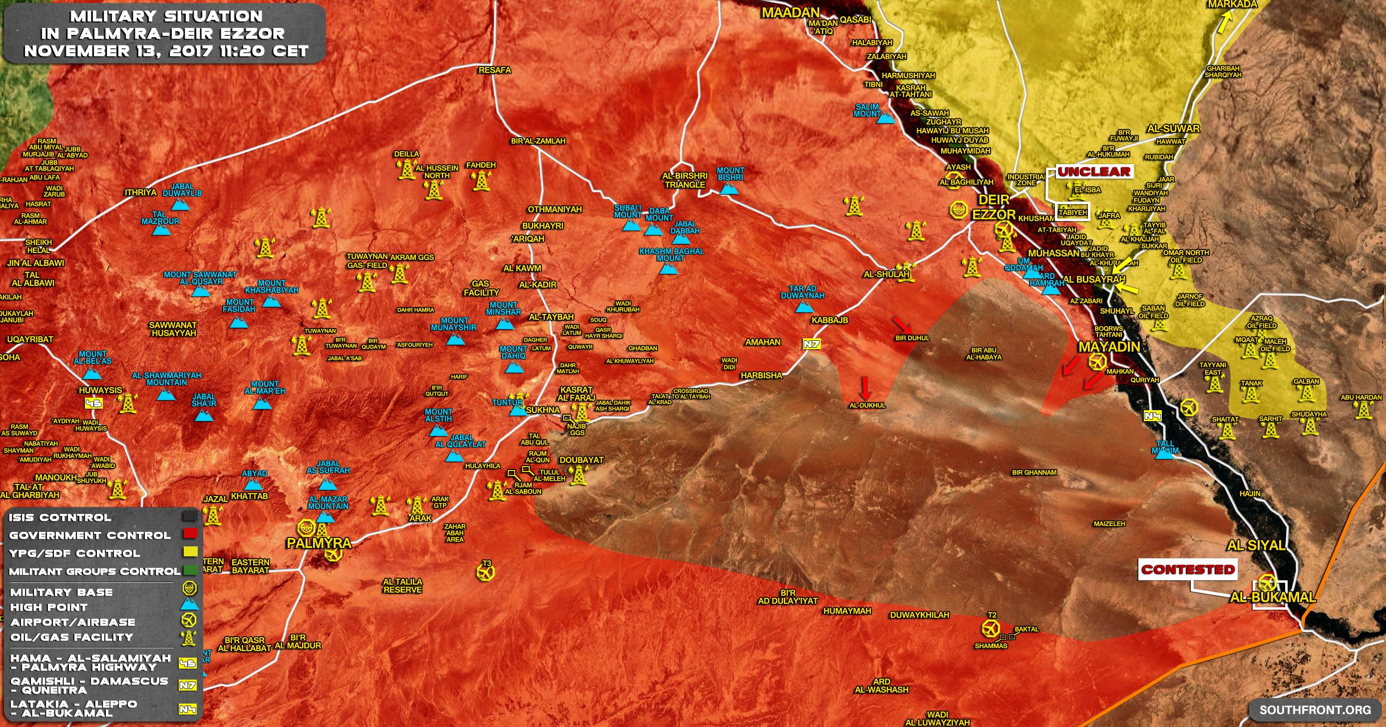 Situation im Gebiet Palmyra-Deir-ez-Zor