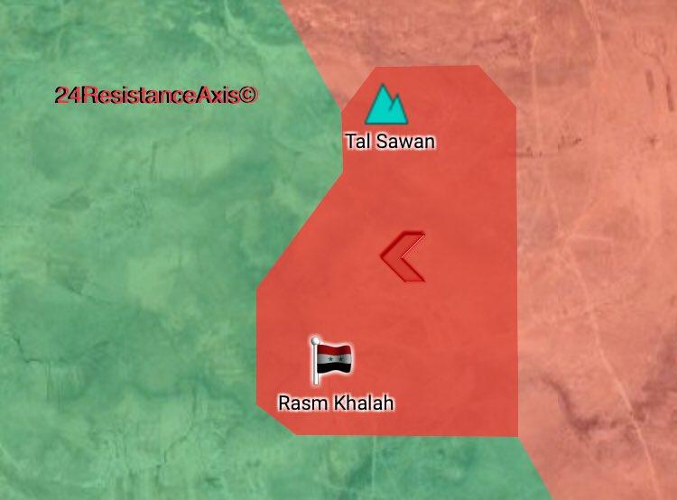 Karte der Eroberung der Ortschaft Rasm Khalah und der Anhöhe Tal Sawan