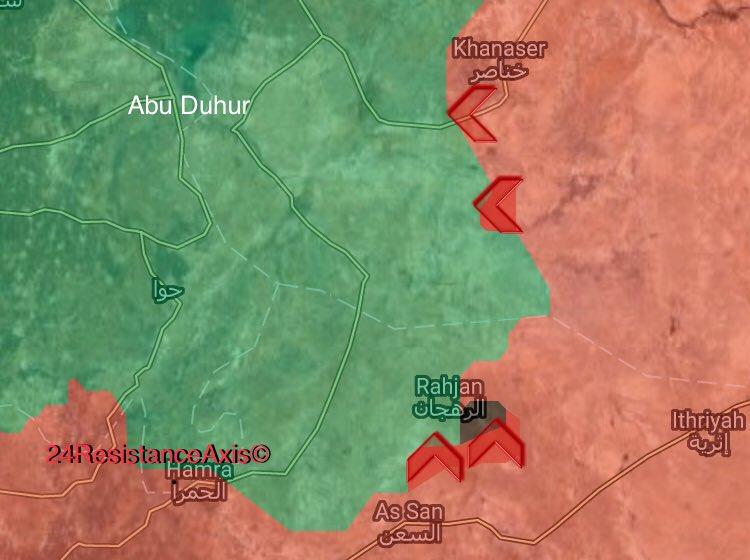 Karte der jüngsten Vorstöße der syrischen Armee